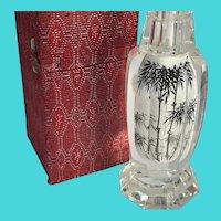 Vintage Small Asian Japanese Heavy Glass Flower Vase - Home Decor