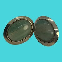Vintage Gold Tone Oval Earrings w/ Large Aventurine Cabochons