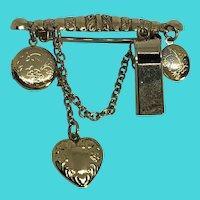 Vintage Gold Tone Steampunk Bar Brooch w/ Whistle & 2 Locket Dangles