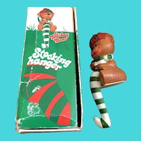 Vintage 1982 Weighted Plastic Holiday Bear Stocking Hanger