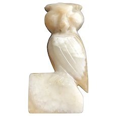 Vintage Heavy Rudimentary Layered Carved Stone Owl Figurine / Small Statue