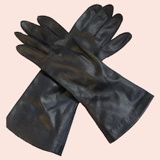 Vintage Analon Hansen Size 7 Navy Blue Thin Faux Leather Gloves