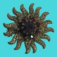 "Small 1"" Gold Tone Sunburst Brooch / Pin w/ Purple & Red Rhinestones"