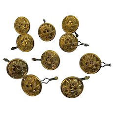 Vintage Lot of 10 Eagle Seal Brass Metal Superior Quality Golden Buttons