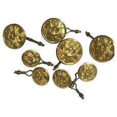Vintage Lot of 8 Eagle Seal Brass Metal Superior Quality Golden Buttons 2 Sizes