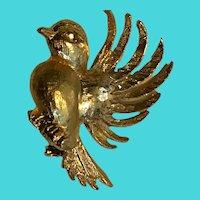 Vintage Gold Tone Golden Bluebird Robin Bird Brooch / Pin
