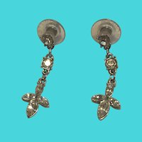 Vintage MONET Silver Tone Rhinestone Dangle Drop Pierced Earrings