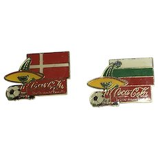 2 1984 Coca Cola Soccer Football World Cup Pins - Denmark & Bulgaria