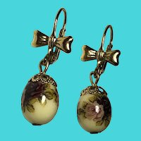 Vintage Gold Tone Painted Floral Egg Drop Earrings