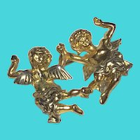 Vintage Dancing Frolicking Cherubs Angel Brooch / Pin