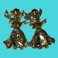 AAI Vintage Festive Golden Glitter Enamel Singing Angels Brooch / Pin
