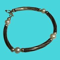 """Stunning Vintage 7"""" Sterling Silver Tubes & Cultured Pearl Bracelet"""