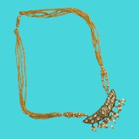"""Vintage 18"""" Gold Tone Multi-Strand Seed Bead, Rhinestone & Faux Pearl Necklace"""