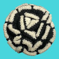 St. John Vintage Knit Rose Flower Brooch / Black & White