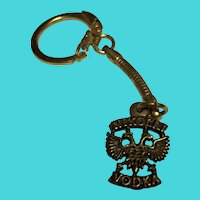 Vintage Nikolai Vodka Brass Key Chain Clip - Advertising