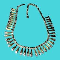 Stunning Vintage High Collar or Choker Fringe Necklace - Gold Tone & Rhinestones