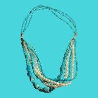 Stunning DRT Jay King Desert Rose Trading Sterling, Turquoise & Pearl Necklace