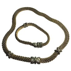 Fun Vintage Gold Tone Thick Magnetic Front Necklace & Bracelet Set
