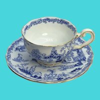 Vintage Royal Albert Crown China Blue & White Asian Scene Teacup & Saucer Set