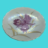 Vintage RELCO JAPAN Floral Iris Hand Painted Iridescent Small Plate / Saucer