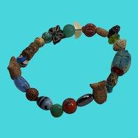 "Vintage 8"" Stretch Bracelet - Wooden & Glass Fish Fetishes, Scarabs & Beads"