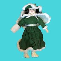 """15"""" Vintage Green Eyed, Pale Skin, Brown Curls Doll - Porcelain & Cloth"""