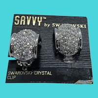 SAVVY by Swarovski Crystal Crusted Silver Tone Thick Hoop Earrings