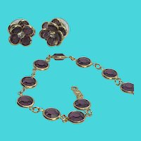SAL Swarovski Vintage Gold Tone & Purple Crystal Bracelet & Earrings Set