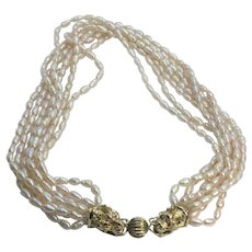 Vintage Multi-Strand Faux Pearl Double Dragon Clasp Necklace
