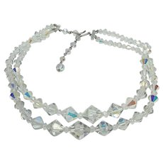 "Vintage 16"" 1950's Aurora Borealis AB Crystal Double Strand Necklace"