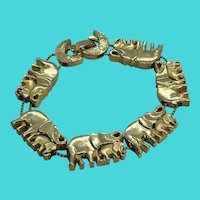 Vintage Gold Tone Mommy & Baby Elephants Slide Bracelet