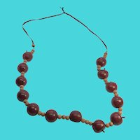 "26"" Vintage Wooden Apple Teacher Necklace on Ribbon"