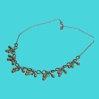 "Vintage Bess Nathan 18"" Brass Chain Fringe Necklace"