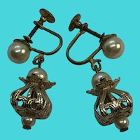Vintage Gold Tone Brass & Faux Pearl Screw Back Dangly Drop Earrings