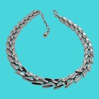 "Vintage TRIFARI Silver Tone 14-16"" Link Choker Necklace"