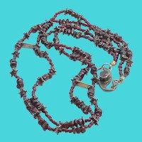 Vintage Tibetan Silver & Garnet Gemstone Double Strand Necklace - marked Nepal