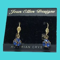 Dazzling Vintage Jean Ellen Designs Gold Tone & Austrian Crystal Earrings