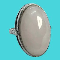 Chunky Vintage Silver Tone Ring with Large Pale Rose Quartz Ring