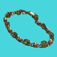 Dazzling Genuine Peridot Chunk & Faux Pearl Gold Tone Bracelet