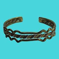 Vintage Multi Metal Brass, Copper, Silver Tone Cuff Bracelet