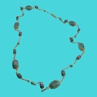 "Amazing Vintage 28"" Gold Tone Venetian Green Murano Glass Bead Necklace"