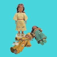 Bundle of 3 Hard Plastic Native American Indian Small Dolls