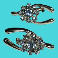 Set of 2 Matching Small Silver Tone & Blue Rhinestone Wishbone Brooches / Pins