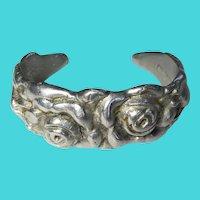 Palmer-Smith Vintage Small Hammered Aluminum Rose Cuff Bracelet