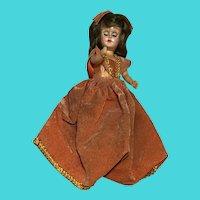 "Vintage 6"" Plastic Baby Doll In Soft Orange Velour Dress"