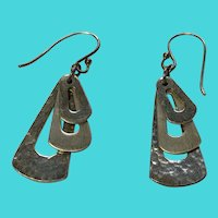 Vintage Mexican Modernist Sterling Silver Drop Earrings