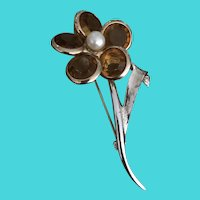 """Vintage Sarah Coventry 2.5"""" Gold & Silver Tone Flower Brooch"""