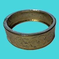 "Vintage Victorian Revival 6-6.5"" Brass Hinge Cuff Bracelet"