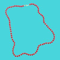 "24"" Vintage Trifari Red Plastic Bead Necklace"