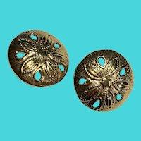 Fun Vintage Gold Tone Clip On Sand Dollar Earrings